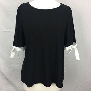 Cece Black Contrast Bow Detail Blouse